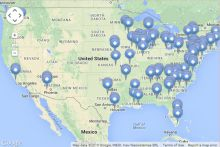 Screen shot of U.S. Nuclear Regulatory Commission Nuclear Reactor map
