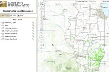 Screenshot of the interactive map of oil and gas resources in Illinois