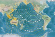 Screenshot of interactive map of estimated tsunami travel times to coastal locations.