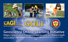 Geoscience Online Learning Initiative graphic arrangement. AGI/Brenna Tobler.