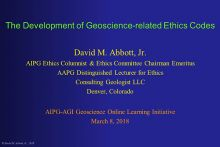 Cover slide for Development of Geoscience-related Ethics Code webinar. Image courtesy David M. Abbott, Jr.