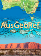 AusGeoRef graphic featuring Australia map, coral reef, and desert mesa. Credit: AGI