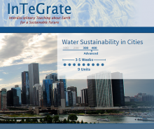 InTeGrate Logo superimposed on Chicago skyline noting Module is advanced level and should last 3-5 weeks.