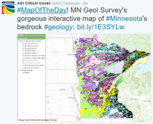 Screenshot of tweet highlighting the MN Geological Survey's interactive map of Minnesota's bedrock geology. Image Credit: Minnesota Geological Survey