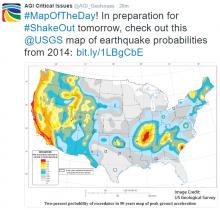 Map of earthquake probabilities across the U.S. Image Credit: U.S. Geological Survey