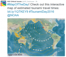 #MapOfTheDay! Check out this interactive map of estimated tsunami travel times: bit.ly/1QTKEY9 #TsunamiDay2016 @NOAA