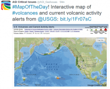 #MapOfTheDay! Interactive map of #volcanoes and current volcanic activity alerts from @USGS: http://bit.ly/1Fr07sC