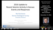Screenshot of video update on seismic activity in Kansas.