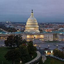Image of U.S. Capitol in the evening.