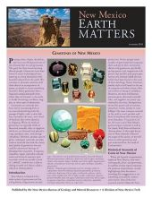 Cover of New Mexico Earth Matters Summer 2016 with pictures of the New Mexico desert and faceted gemstones