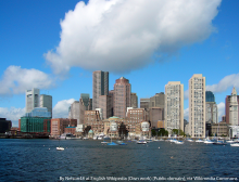 Skyline of Boston. Picture was taken from a whale watching ferry that left from the aquarium dock. It is the Eastern side of the Boston peninsula.