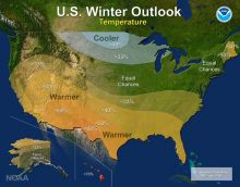 NOAA U.S. Winter Outlook Temperature Map