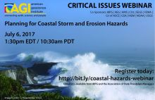 Coastal hazards webinar flyer. Image Credit: C. Hegermiller, USGS