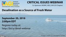 Flyer for the Free Desalination as a Source of Fresh Water Webinar