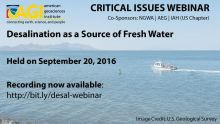 Flyer for Desalination Webinar. Image Credit: U.S. Geological Survey