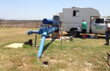 USGS scientists collecting water quality samples at a public-supply well overlying the Eagle Ford Shale production area in Texas.