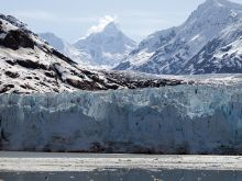 A glacier meets the ocean at Glacier Bay National Park and Preserve.