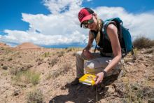 Lauren A. Martz collecting Eocene-age pronghorn fossils. Photo by BLM-NM Sherman Hogue.