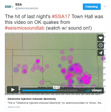 @SeismoSocietyAm: The hit of last night's #SSA17 Town Hall was this video on OK quakes from #seismicsoundlab (watch w/ sound on!)