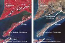 Pre-Ike (left) and post-Ike (right) ASTER imagery of Galveston Island, the Bolívar Peninsula, and the mainland in August 2006. Healthy (red) and dead (brown) vegetation shows storm surge inundation effects. Image Credit: Jesse Allen, NASA Earth Observ.