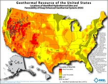 National Renewable Energy Laboratory map of geothermal resources.