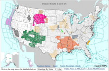 Screen shot of today's weather hazards on the www.weather.gov site.