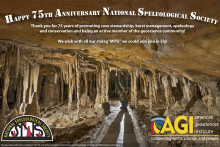 AGI's Greeting Card Congratulating NSS on its 75th anniversary. It has a picture of a cave in the background.