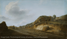 Image of an outcrop in an oil painting dated from 1770-1800, location is unknown.