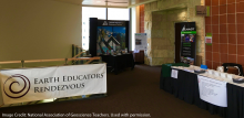 Tables set up to receive participants at NAGT's Earth Educator's Rendezvous in Madison, WI.