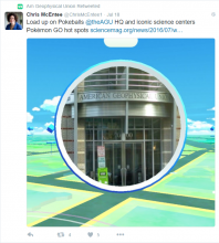 Screenshot of Christine McEntee's tweet announcing an AGU Pokestop