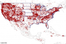 National map from the USGS showing that mineral resources are available nationwide.