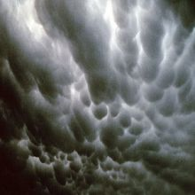 Mammatus clouds that are usually associated with thunderstorms.