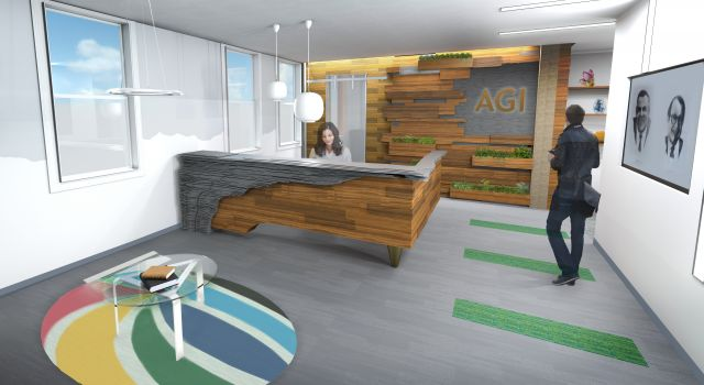 CAD Rendering of an office reception area. Wood and slate paneling along the desk and back wall convey an earth oriented feel
