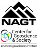Logos for the National Association of Geoscience Teachers and the AGI Center for Geoscience and Society.