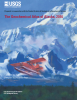 Cover of the Updated Version of the Geochemical Atlas of Alaska. Watercolor of a plane flying through Alaskan Mountain Ranges.